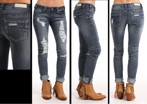 Rock & Roll Cowgirl Americana Patch Skinny Jean - W0S6677