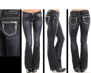 Rock and Roll Cowgirl Rival Low Rise Boot Cut Jean   W6-1528