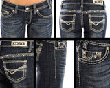 Rock and Roll Cowgirl Boot Cut Jeans  W7-1542