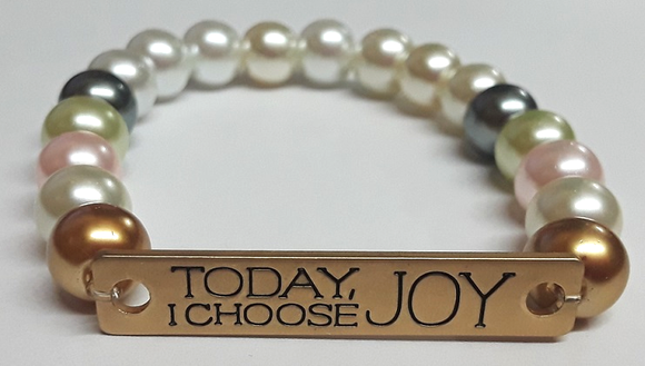 ZLJ Glass Pearl Bracelet - Today I Choose Joy
