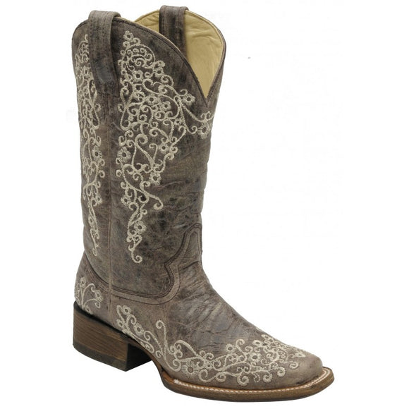 Corral Boots Brown Crater Bone Embroidery - A2663