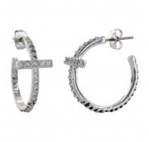 Montana Silversmiths Rhinestone Cross/Rope Hoop Earrings - ER3072