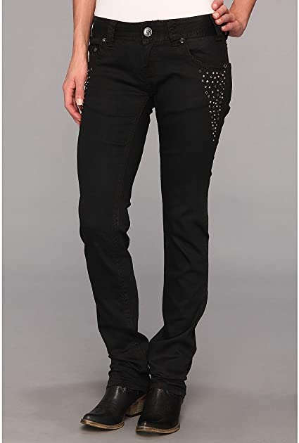 Rock & Roll Cowgirl Black Embellished Skinny Jean - W0S6710