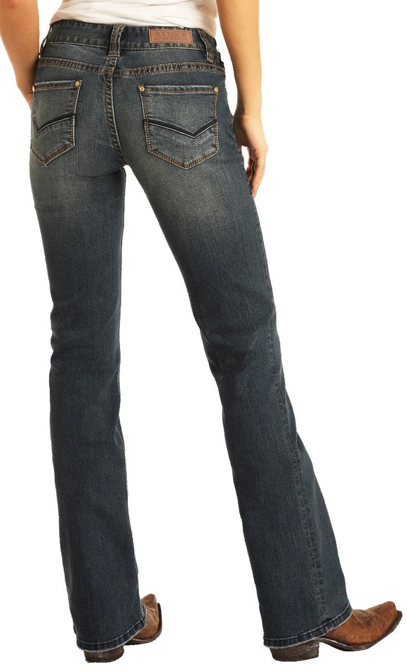 Rock & Roll Cowgirl Mid Rise Boot Cut Jean  W1-7683