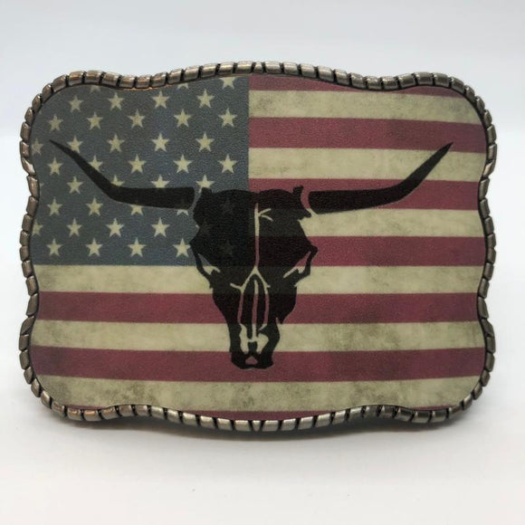 Wallet Buckle Rustic Flag Longhorn