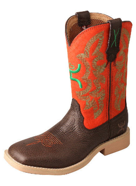 Twisted X Hooey Youth Boots - Chocolate/Neon Orange