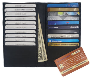 AG Wallets Long Genuine Leather 20 Slots Credit Card Holder with Hide Money Tall Wallet