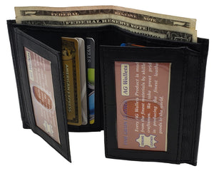 AG Wallets Mens Leather Bifold 8 Card Slots dual Flap 4 ID Windows Slim Wallet