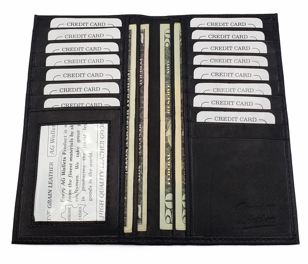 AG Wallets Genuine Leather Cowhide ID Credit Card Checkbook Cover Slim Wallet