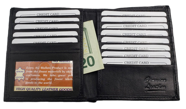 AG Wallets Mens Genuine Leather Bifold Wallet Slim Hipster Credit Card and ID