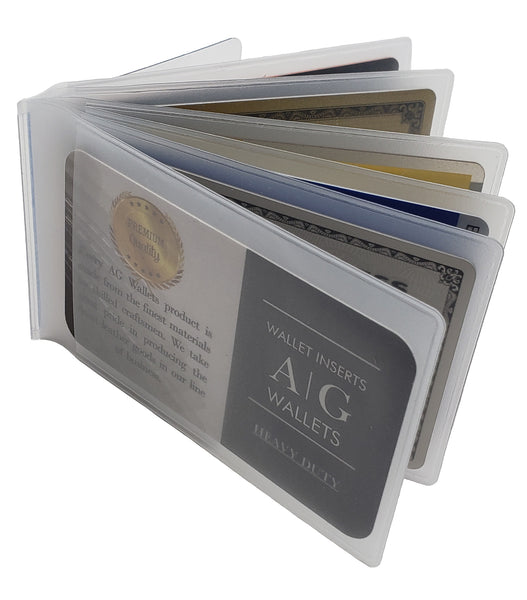 AG Wallets Set of 2 Heavy Duty Vinyl 6 Pages Bifold Mens Wallet Clear Inserts