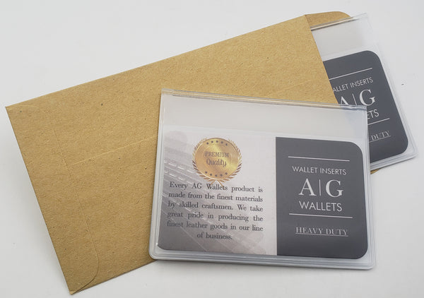 AG Wallets Set of 2 Heavy Duty Vinyl 6 Pages TriFold Mens Wallet Inserts