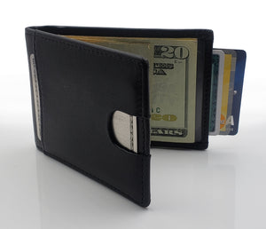 AG Wallets Mens Leather Bifold Black Wallet, RFID, Slim Design, Minimalist Money Clip, Full Grain Leather, Highest Quality of Leather