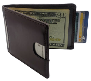 AG Wallets Mens Leather Bifold Brown Wallet, RFID, Slim Design, Minimalist Money Clip, Full Grain Leather, Highest Quality of Leather