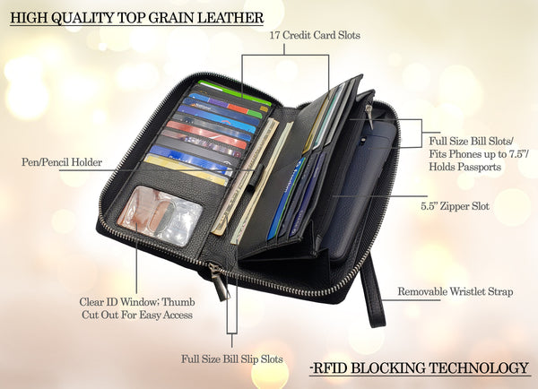 AG Wallets Women's RFID Blocking Wristlet, Cow Leather, Large Capacity Zip Around Wallet Clutch, 17 Card Holder, Passport Holder, Fits Phones Up To 7.5""
