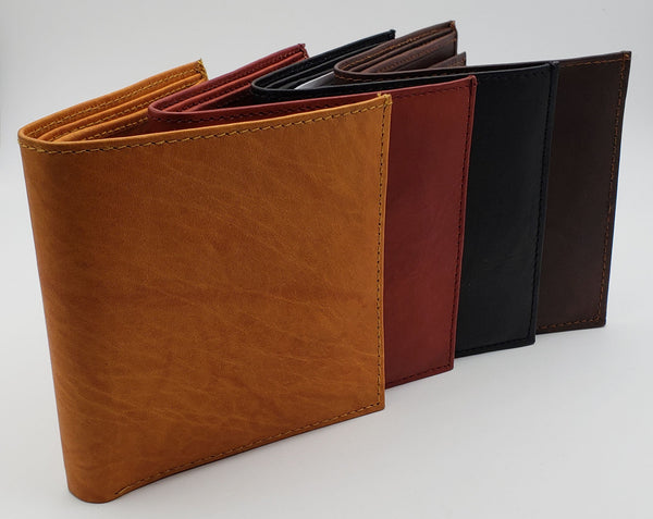 AG Wallets Premium Cowhide Leather Hipster Wallet With Removable Center Flap, Multi Card Holder, 1 ID, 2 Bill Slots