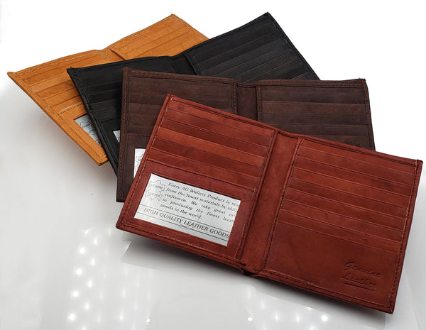 AG Wallets Mens Cowhide Leather Slim Hipster Bifold Wallet With Removable Inserts,  Hand Made Card Cash & ID Holder