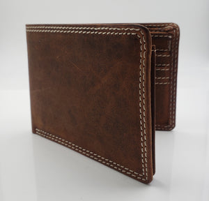 AG Wallets Mens Hunter Genuine Leather Bifold Minimalist Wallet for Men Handmade Real Leather Slim Style Card Holder Brown