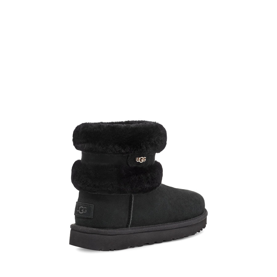 Women's UGG Fluff Mini Belted Boot in Black