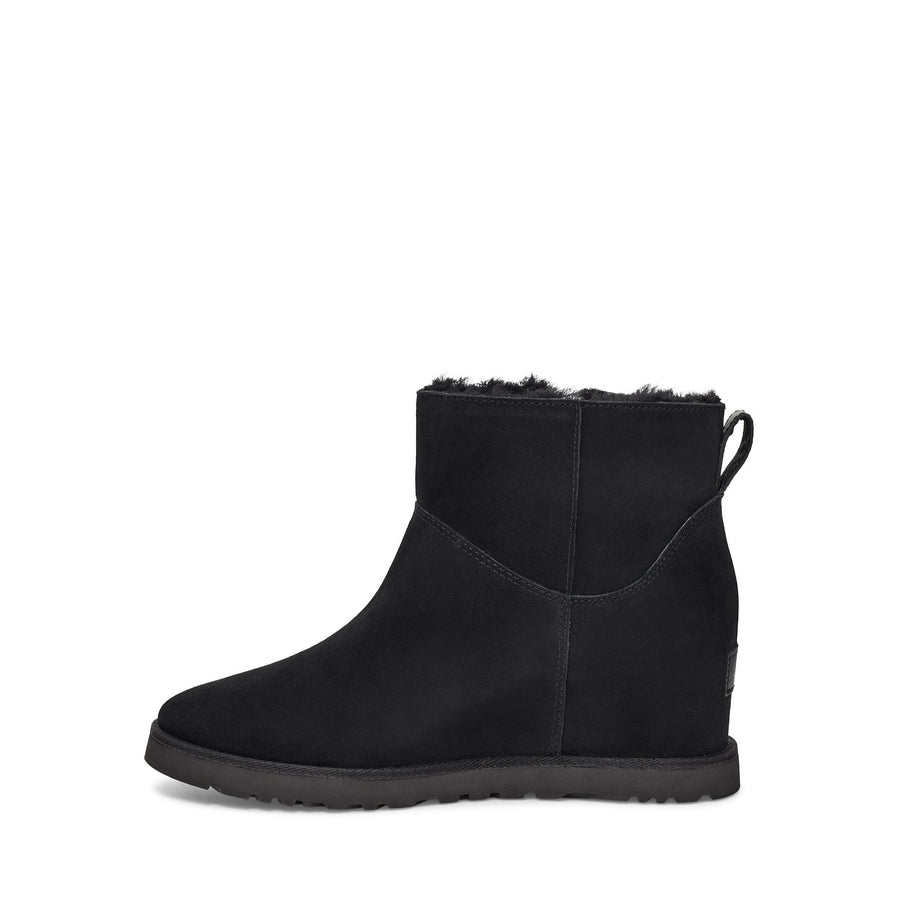 Women's UGG Classic Femme Zip Mini Wedge Boot in Black