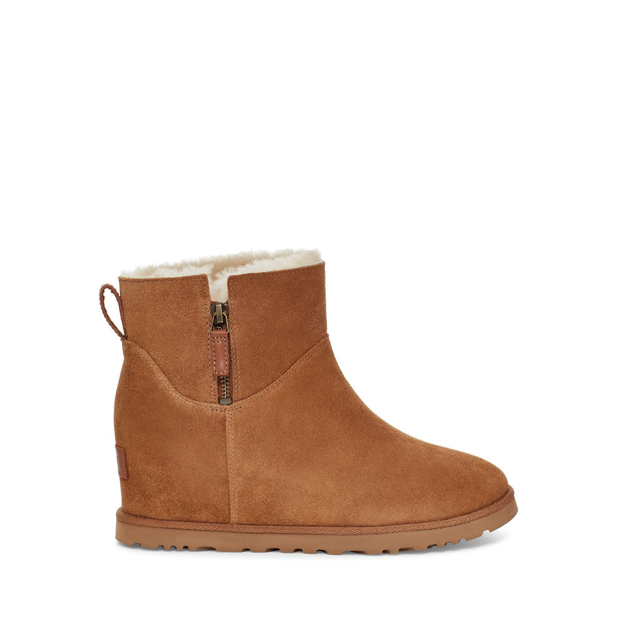 Women's UGG Classic Femme Zip Mini Wedge Boot in Chestnut