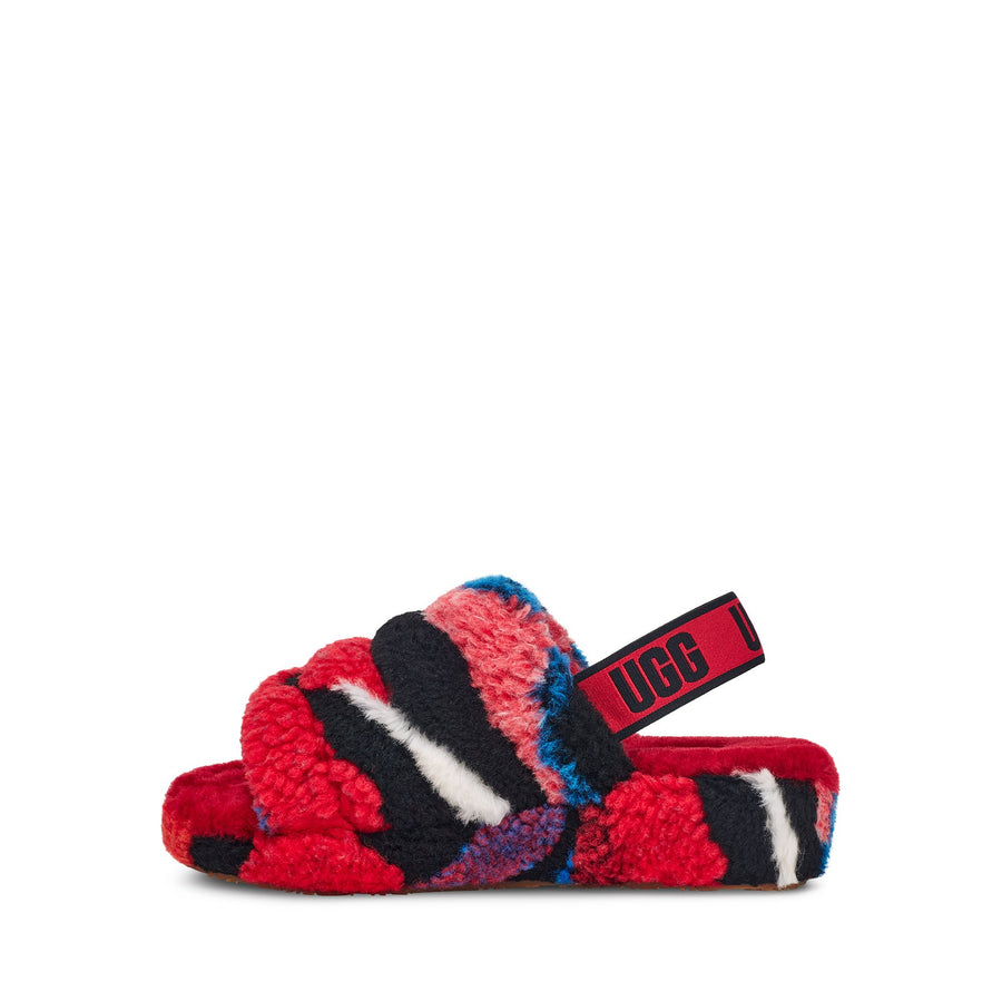 UGG® Fluff Yeah Slide Cali Collage in Red