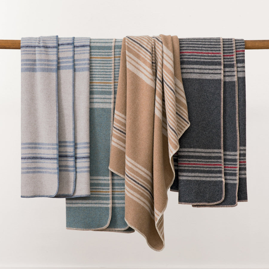 Pendleton Irving Stripe Taupe Washable Eco-Wise Wool Throw