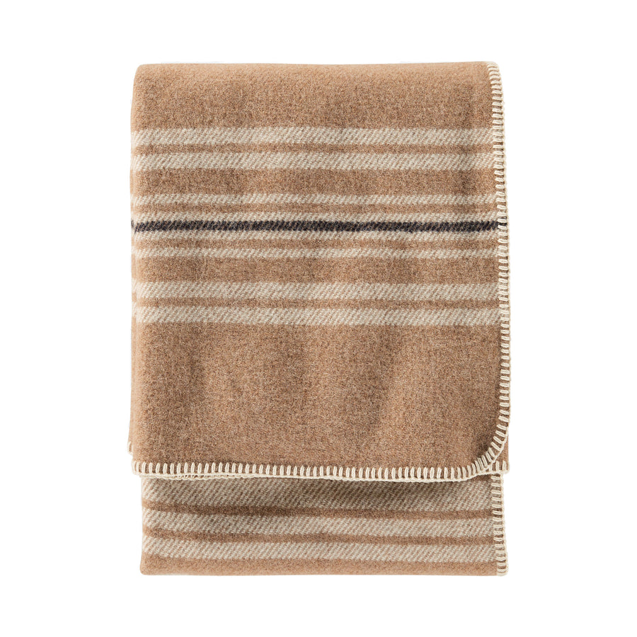 Pendleton Irving Stripe Camel Washable Eco-Wise Wool Throw