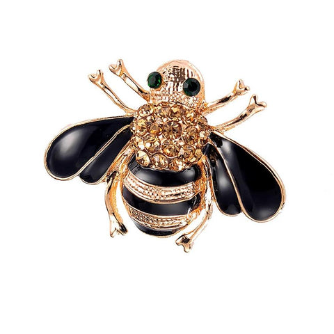 Stunning Black and Golden Love Bee Brooch