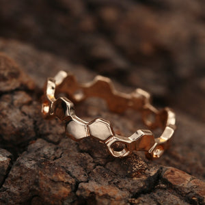 Love Bee Honeycomb Hexagon Ring