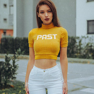 """Past"" Yellow Turtle Crop Top"