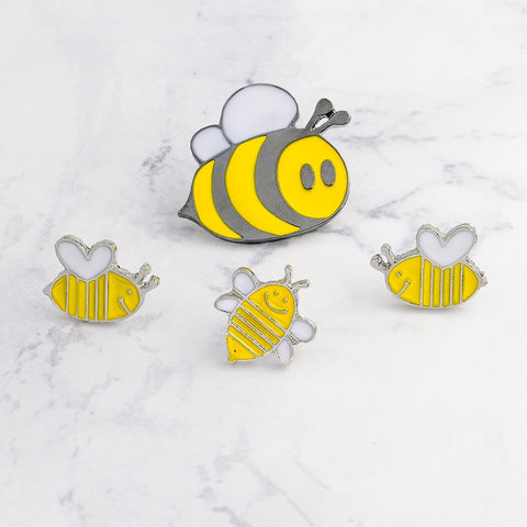 Hand Crafted Smiling Honey Bee Jacket/Bag Pins