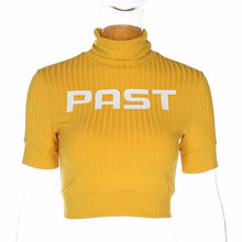 "Load image into Gallery viewer, ""Past"" Yellow Turtle Crop Top"