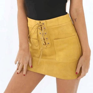 Our  Lace-Up Suede Mini Skirt
