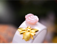 "Load image into Gallery viewer, ""Lotus Fun Moment"" Handmade Pink Rose Bee Ring"