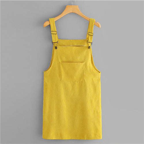 Yellow Corduroy Dungaree Dress With Pockets