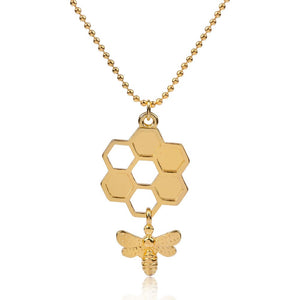 Golden Honeycomb Hollowed Necklace