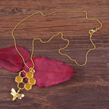 Load image into Gallery viewer, Golden Honeycomb Hollowed Necklace