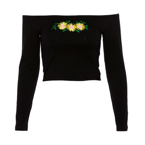 "Love Bee ""Patch"" Off Shoulder Crop Top"