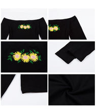 "Load image into Gallery viewer, Love Bee ""Patch"" Off Shoulder Crop Top"