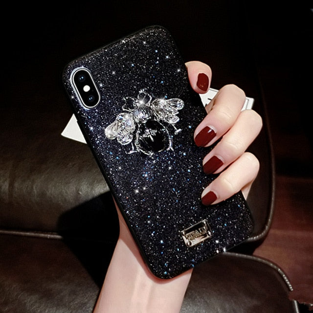 Stunning Glitter Love Bee Phone Case
