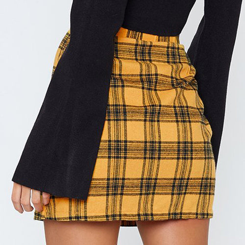 Plaid Zipper High Waist Mini Skirt