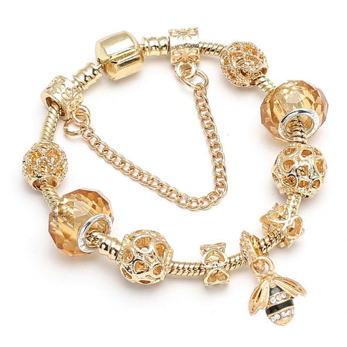 Golden-Ember Love Bee Charm Bracelet