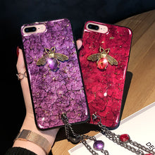 Load image into Gallery viewer, Love Bee Gemstone Phone Case w/ Jeweled Chain