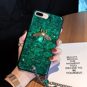 Love Bee Gemstone Phone Case w/ Jeweled Chain