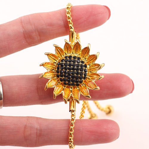 3 Piece Rhinestone Sunflower Bracelet