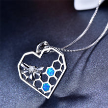"Load image into Gallery viewer, ""Blue Heart"" Honeycomb Bee Necklace"