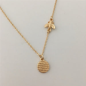 Gold Plated Textured Bee Necklace