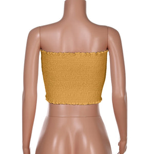"""LoveBug"" Yellow Ruched Tube Top"