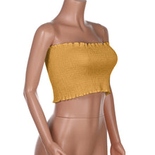 "Load image into Gallery viewer, ""LoveBug"" Yellow Ruched Tube Top"